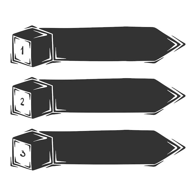 Dibujado a mano de infografías de tres cloumns, aislado sobre fondo blanco. Vector Premium