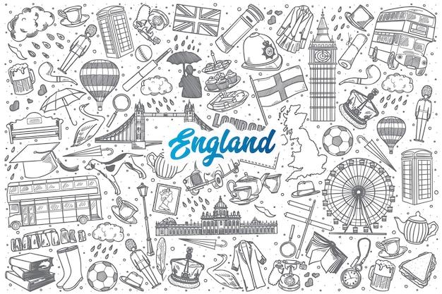 Dibujado a mano inglaterra doodle establece fondo con letras azules Vector Premium