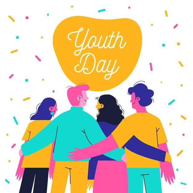 Dibujado a mano jóvenes día personas abrazándose juntos vector gratuito