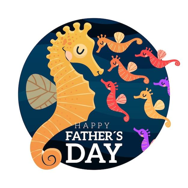 Dibujado a mano letras del día del padre con caballito de mar vector gratuito