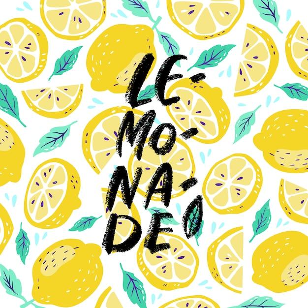 Dibujado a mano letras inscripciones sobre limonada en limón Vector Premium