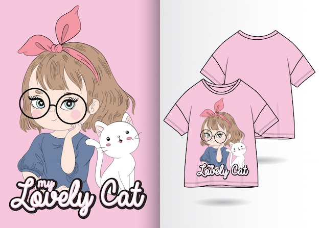 Dibujado a mano linda chica con ilustración de gatito con diseño de camiseta Vector Premium