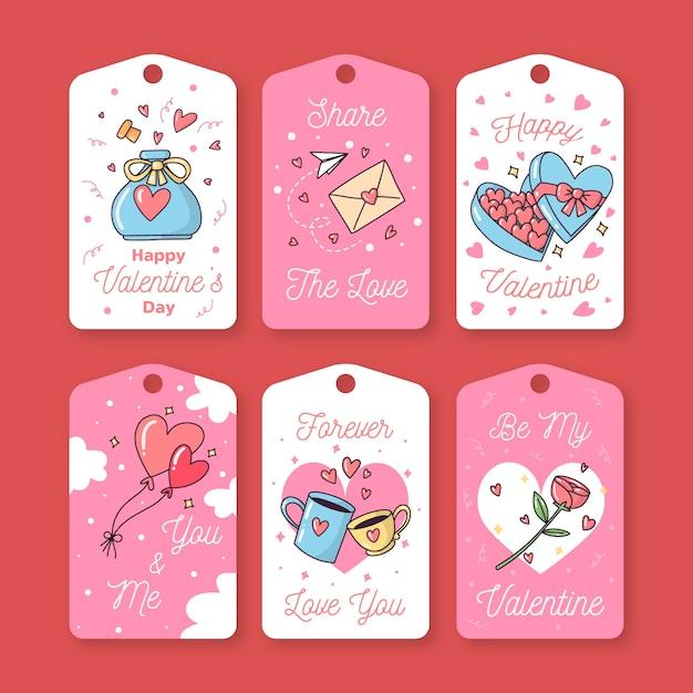 Dibujado a mano linda colección de etiquetas / insignias de san valentín Vector Premium