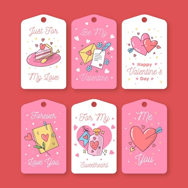 Dibujado a mano lindo conjunto de etiqueta / insignia de san valentín vector gratuito
