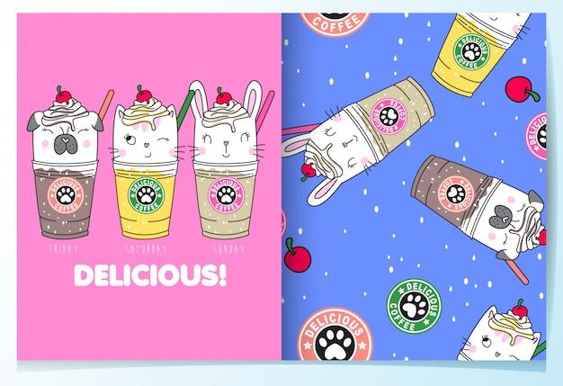 Dibujado a mano lindo conjunto de patrón de bebidas Vector Premium