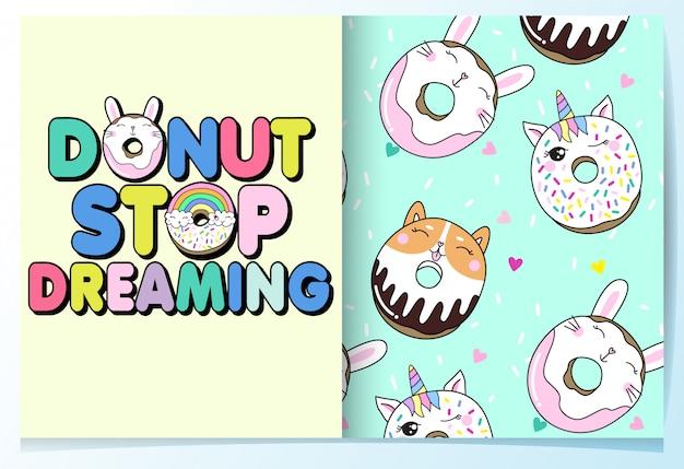 Dibujado a mano lindo conjunto patrón donut Vector Premium