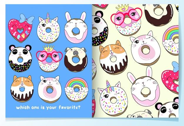 Dibujado a mano lindo conjunto de patrón de donuts Vector Premium