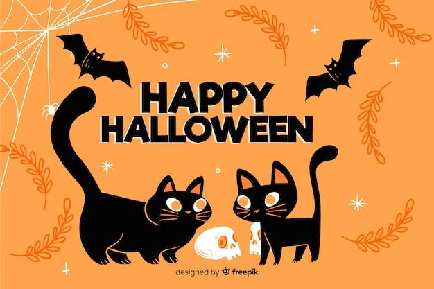 Dibujado a mano lindo fondo de gatos negros de halloween vector gratuito