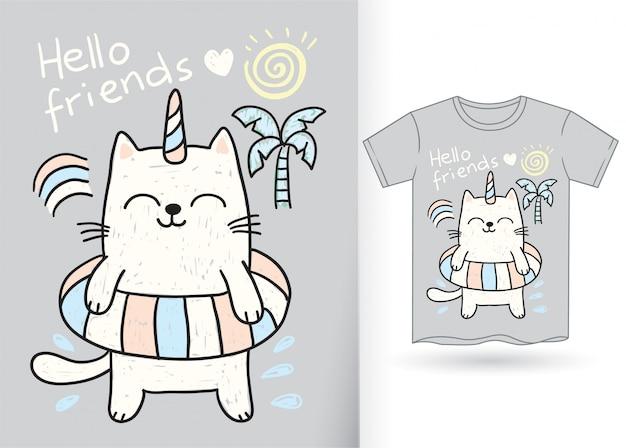 Dibujado a mano lindo gato unicornio para camiseta Vector Premium
