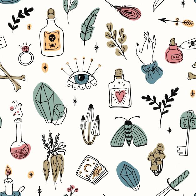 Dibujado a mano mágico de patrones sin fisuras, brujería doodle símbolos de colores. colección de herramientas de misterio y alquimia: ojos, cristal, raíces, pociones, plumas, hongos, velas, llaves, huesos Vector Premium