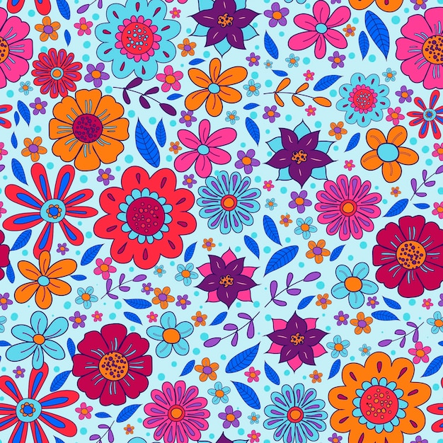 Dibujado a mano maravilloso patrón floral vector gratuito