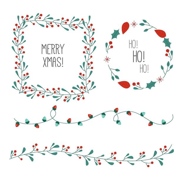 Dibujado a mano marcos y bordes de navidad vector gratuito