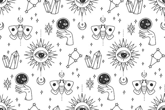 Dibujado a mano mística astronomía de patrones sin fisuras Vector Premium