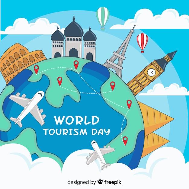 Dibujado a mano el mundo del día del turismo con puntos precisos vector gratuito