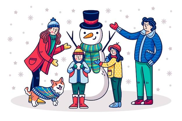 Dibujado a mano navidad escena familiar vector gratuito