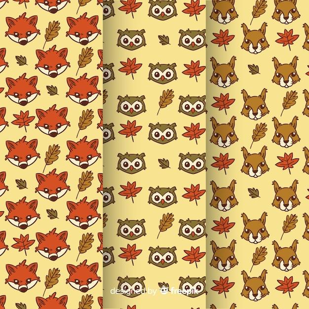 Dibujado a mano otoño animales patrón de colección vector gratuito