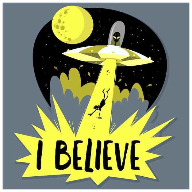 Dibujado a mano ovni secuestra humanos. nave espacial ufo rayo de luz en el cielo nocturno Vector Premium