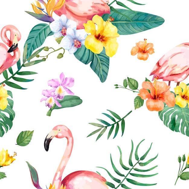 Dibujado A Mano Pajaro Flamenco Con Flores Tropicales Descargar
