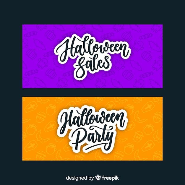 Dibujado a mano pancartas de halloween naranja y púrpura vector gratuito