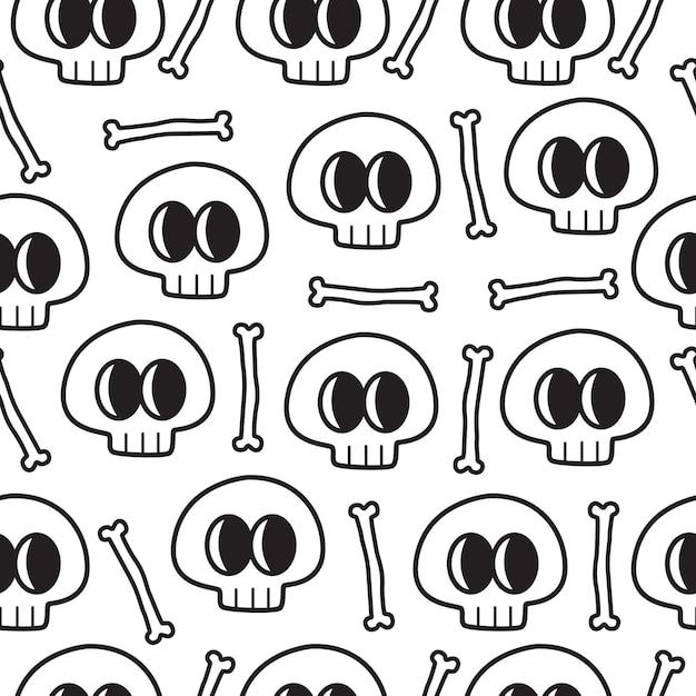 Dibujado a mano patrón de doodle de cráneo de dibujos animados Vector Premium