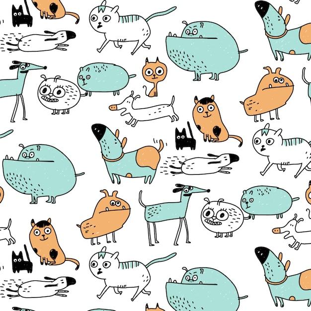 Dibujado a mano patrón lindo perro y gato Vector Premium