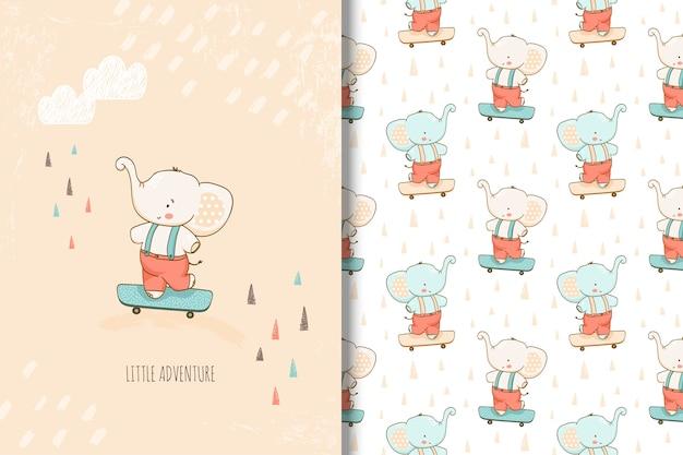 Dibujado a mano pequeña tarjeta de elefante y patrones sin fisuras para niños Vector Premium