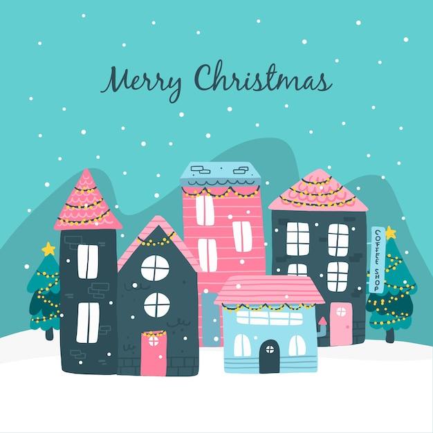 Dibujado a mano pueblo de navidad vector gratuito