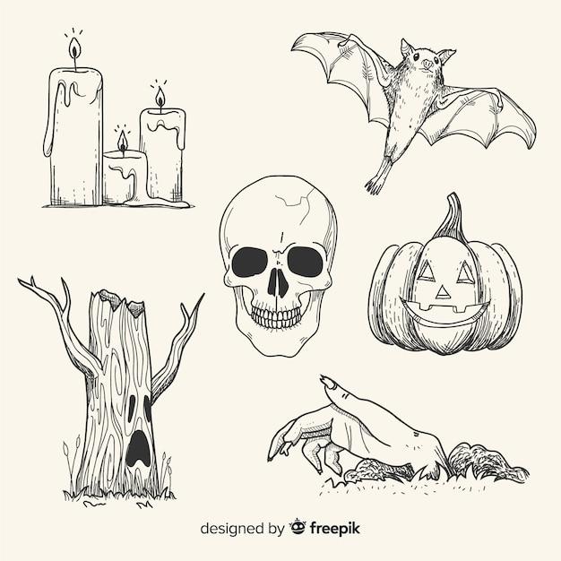 Dibujado a mano realista colección de elementos de halloween vector gratuito