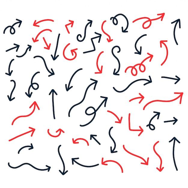 Dibujado a mano rojo y negro doodle flechas vector gratuito