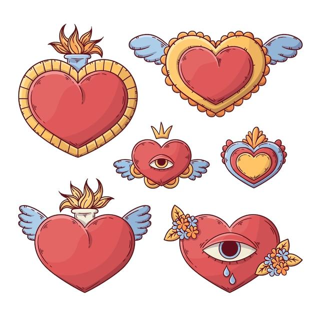 Dibujado a mano de sagrado corazón vector gratuito