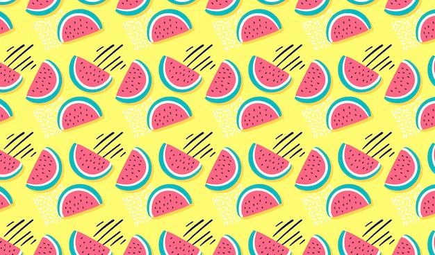 Dibujado a mano sandía de patrones sin fisuras vector gratuito
