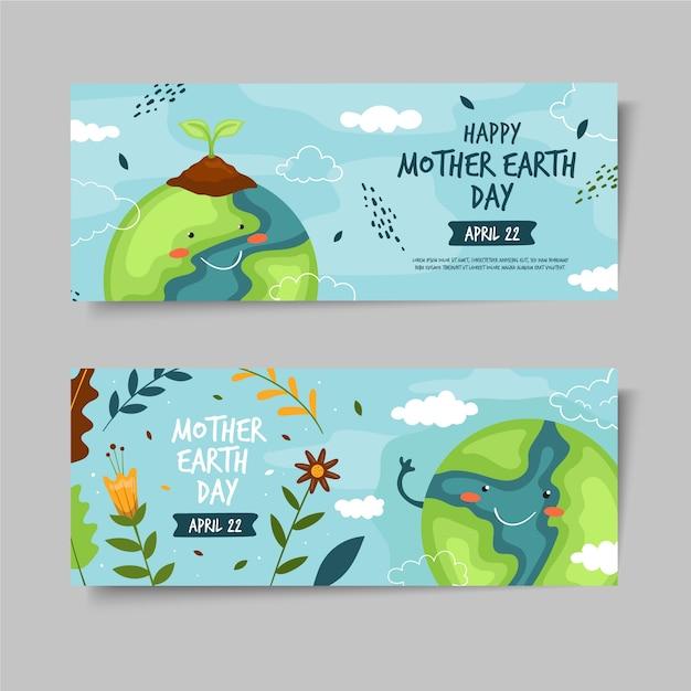 Dibujado a mano set banner del día de la madre tierra vector gratuito