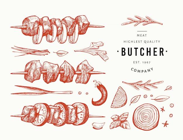 Dibujado a mano shish kebabs, especias y hierbas, juego de barbacoa. Vector Premium