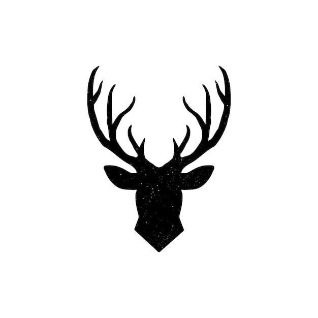 Dibujado a mano silueta de cabeza de reno Vector Premium