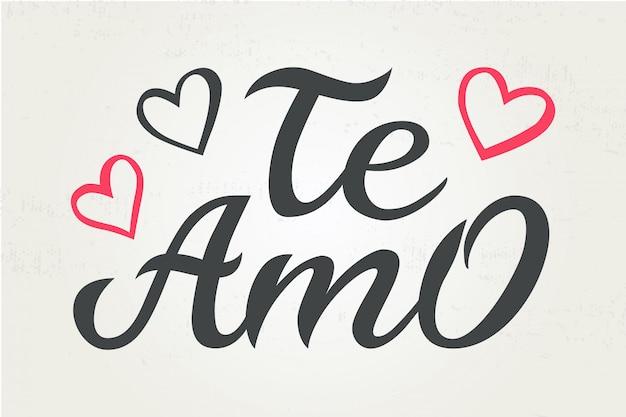 Dibujado A Mano Tipografia Letras Te Amo Te Amo En Espanol Vector Premium