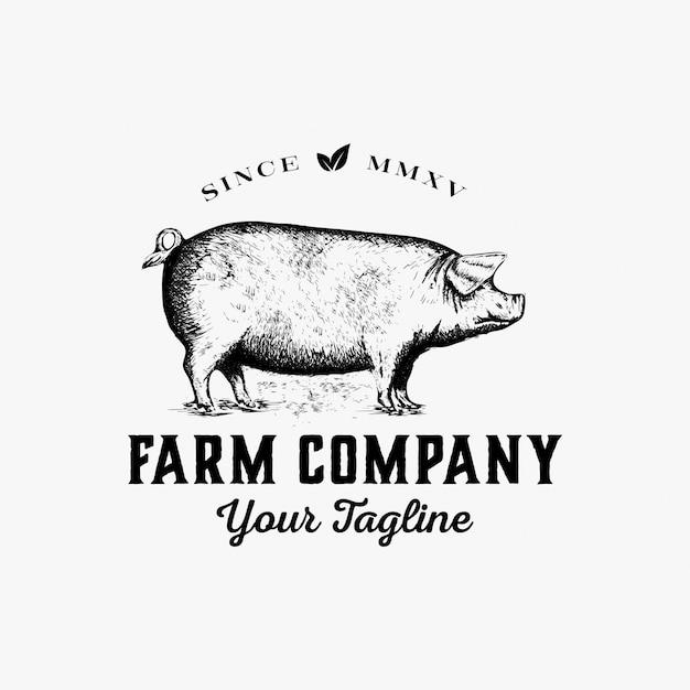 Dibujado a mano vector logo de granja Vector Premium