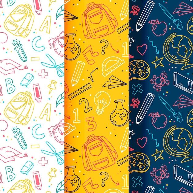 Dibujado a mano de vuelta a la colección de patrones escolares vector gratuito