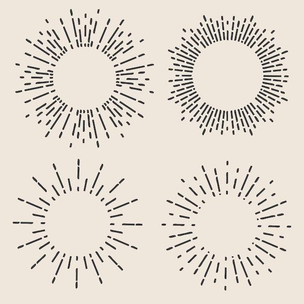 Dibujados a mano geométricos rayos de sol, líneas de estrellas de rayos. Vector Premium