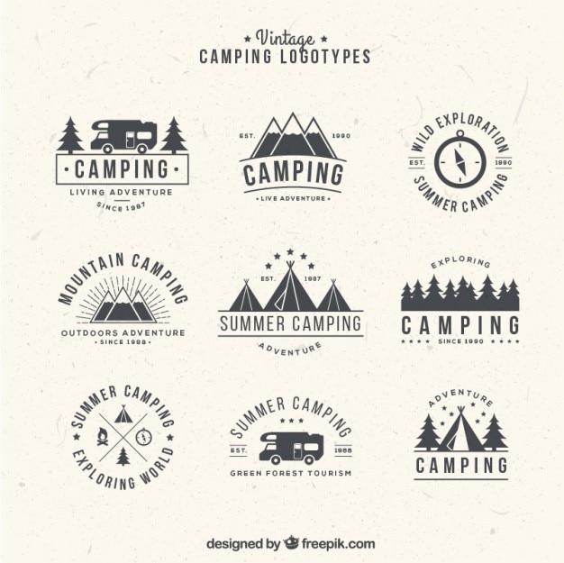 Dibujados a mano logotipos para acampar en estilo de la vendimia vector gratuito