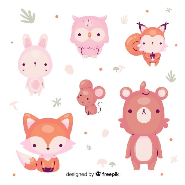 Dibujados a mano otoño animales del bosque Vector Premium