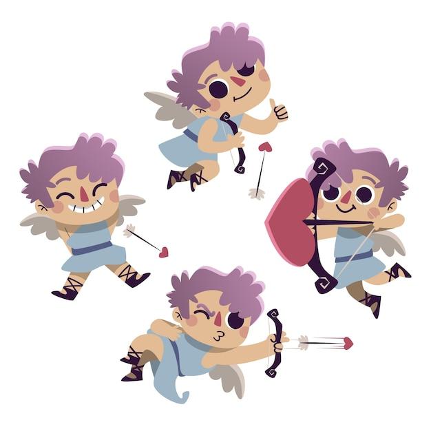 Dibujando con la colección de personajes de cupido vector gratuito