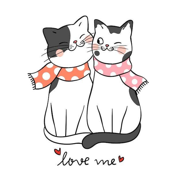 Dibujar Amor De Pareja De Gato Con La Palabra Me Aman Descargar