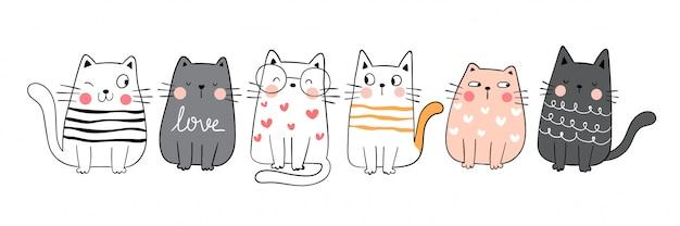 Dibujar colección divertido gato lindo estilo de dibujos animados doodle. Vector Premium