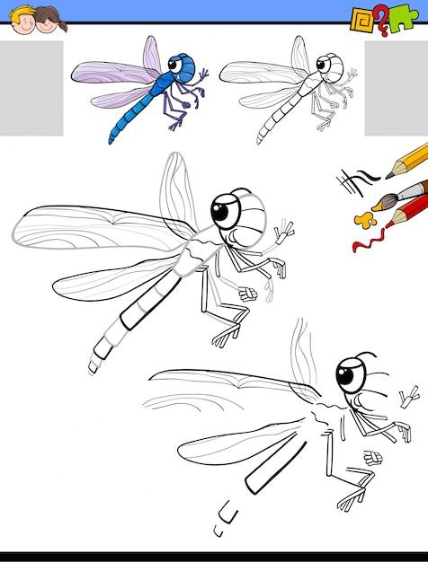 Dibujar y colorear actividad con libélula   Descargar Vectores Premium