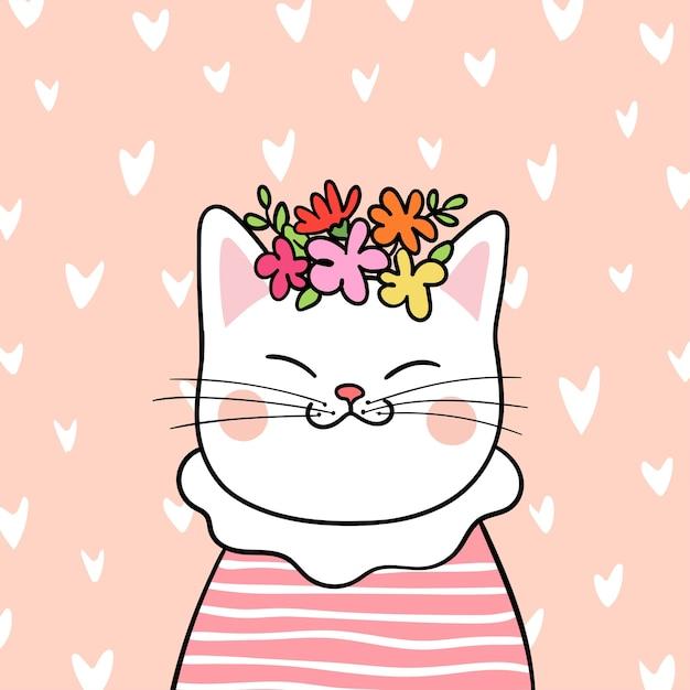 Dibujar Gato Con Flores En La Cabeza En El Fondo Del Pequeño Corazón