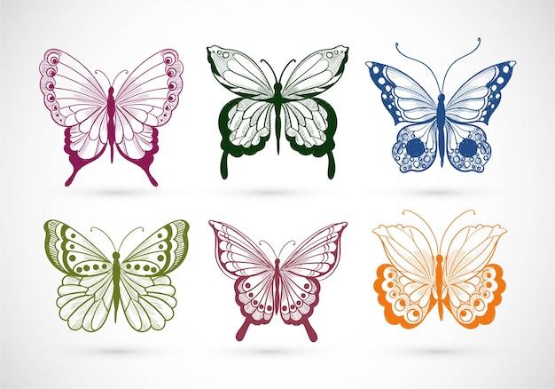 Dibujar a mano colección de diseño de mariposas muy coloridas vector gratuito