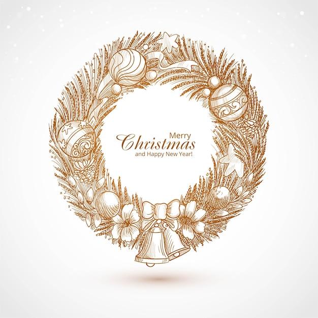 Dibujar a mano decorado guirnalda de navidad tarjeta de dibujo vector gratuito