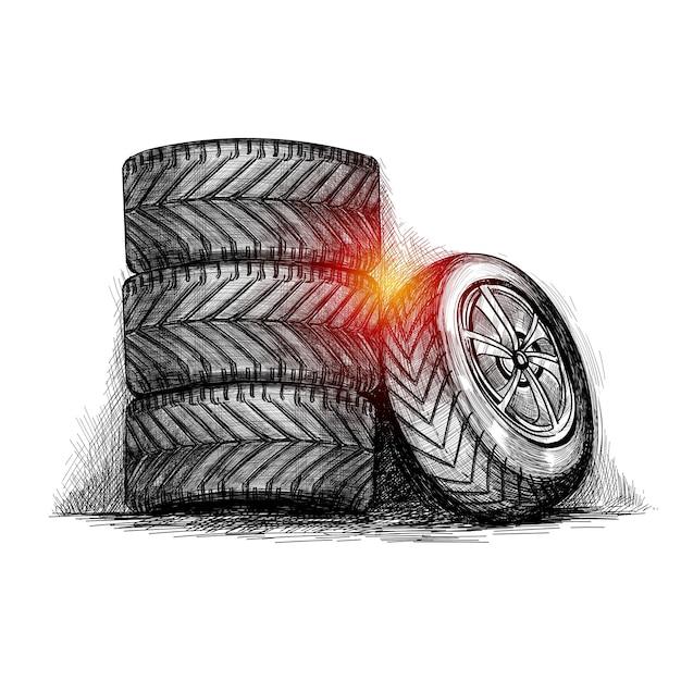Dibujar a mano dibujo realista de neumático completo vector gratuito
