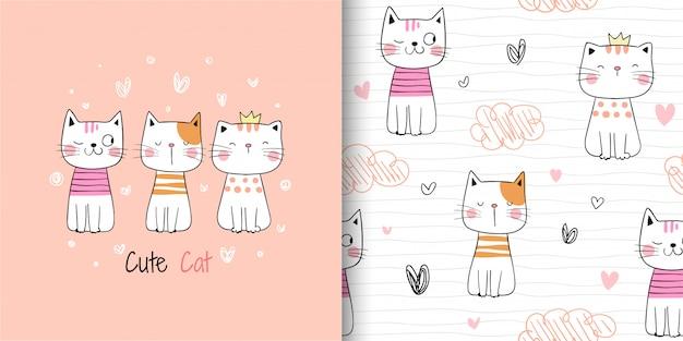 Dibujar patrón lindo gato lindo en blanco. Vector Premium