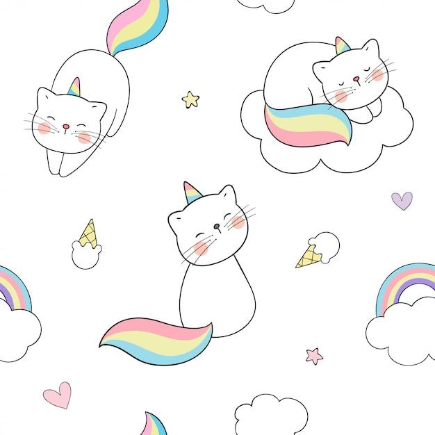Dibujar patrones sin fisuras caticorn con nubes y un arco iris. Vector Premium